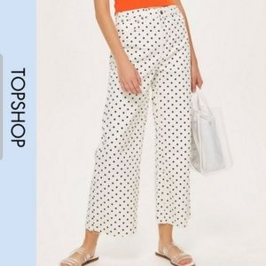 NWT Polka Dot Cropped Wide Jeans